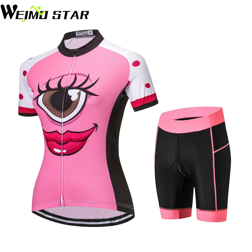 Women/'s Cycling Kit Full Zip Biking Jersey and Padded Bicycle Shorts Set S-5XL