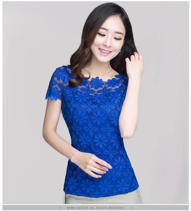 new 2018 fashion lace women shirts blouses Short Sleeve sexy hollow out Womens Clothing plus size 5XL women tops blusas 9635 30
