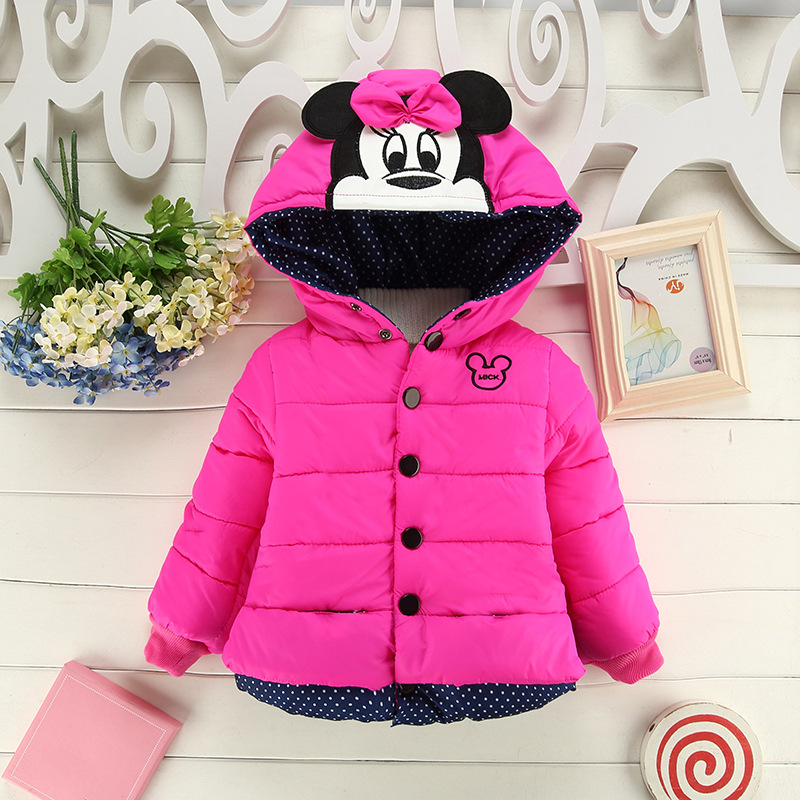 2016 winter high quality cartoon mickey girls children's coats 3 color warm thicken mouse pattern children outwear jackets