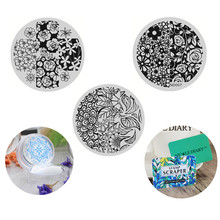 NICOLE DIARY 3pcs Nail Art Stamping Image Plates Flowers Patterns Stainless Steel  DIY Template with Stamper and 2 Scrapers