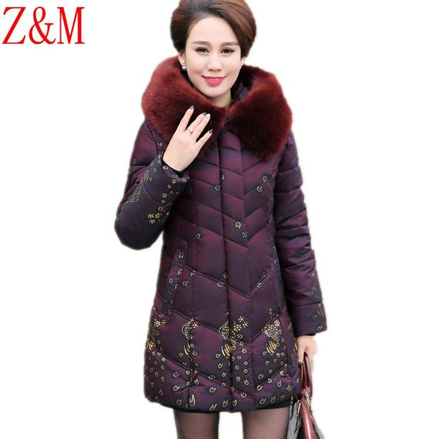 Women Winter coat mother installed cotton padded Long hooded printing elderly cotton jacket