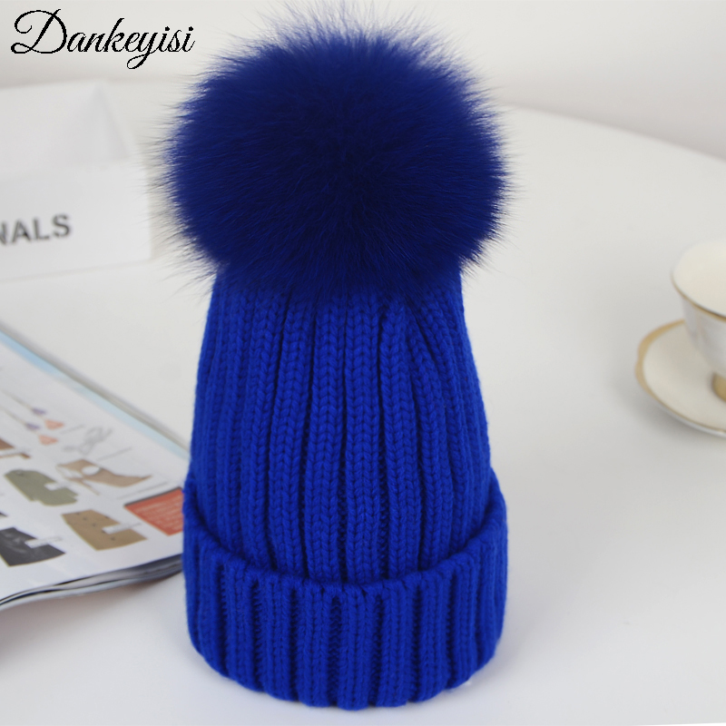 DANKEYISI Women Beanies Raccoon Fur Pom Poms Hat Wool Knitted Hat Beanies Skullies Children Caps Fox Fur Pompon Cap Winter Hats new star spring cotton baby hat for 6 months 2 years with fluffy raccoon fox fur pom poms touca kids caps for boys and girls