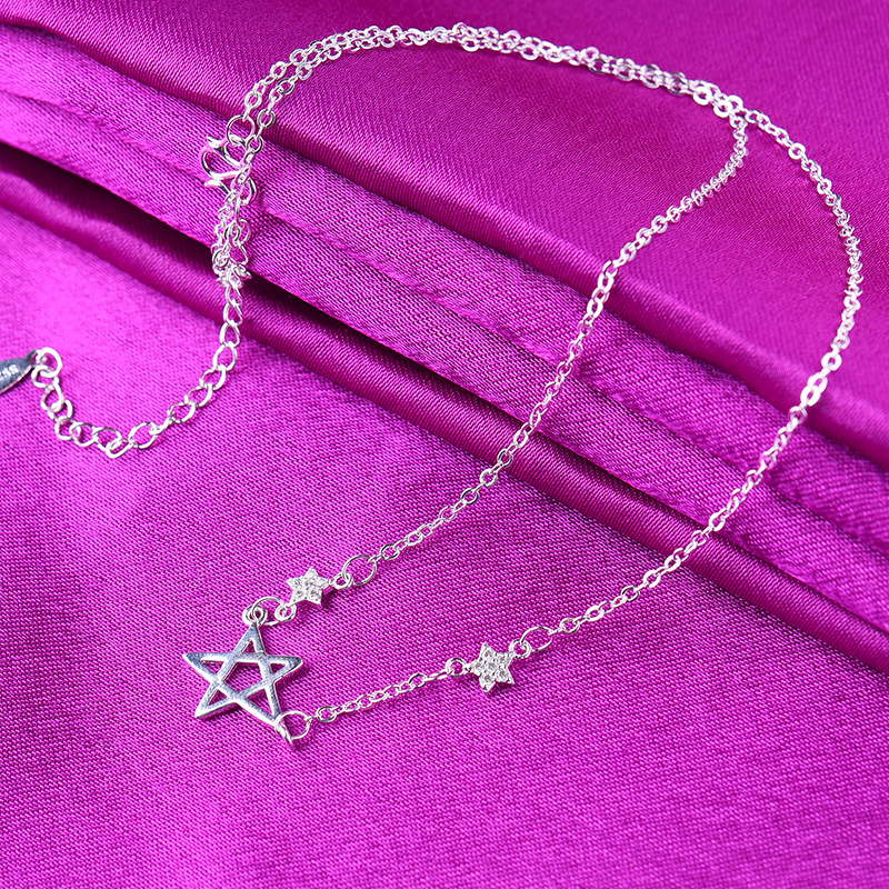 Copper silver-plated clavicle necklace chain simple stars pendant necklace women