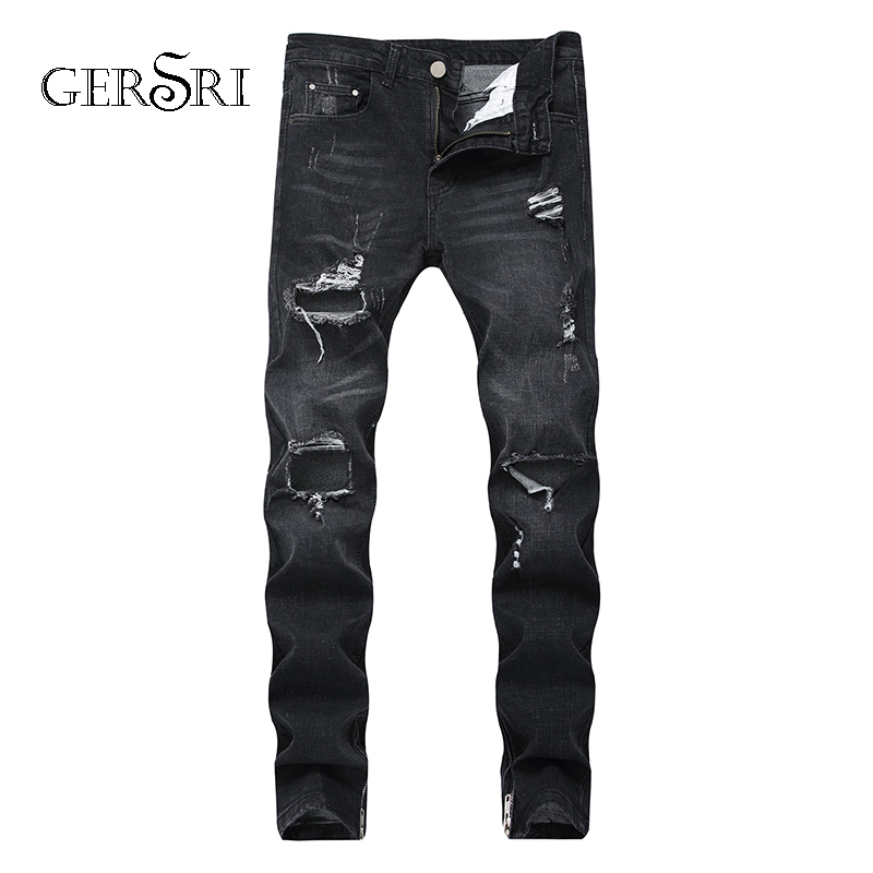 Gersri Men jeans hole Casual High Quality Cotton ripped men hiphop pants Straight for denim trousers