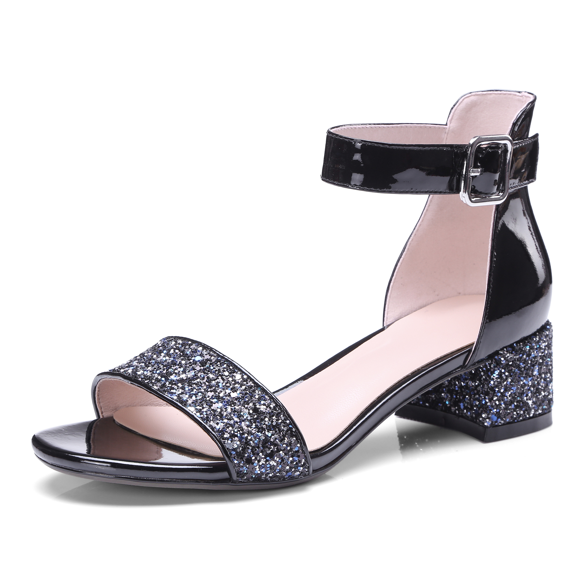 Silver Black Glitter Leather Summer Sandals Ankle Strap Thick High Tendencies Footbed 2 Hitam 43 Heel Cover Shoes 4cm Sandalen Dames In Middle Heels From On