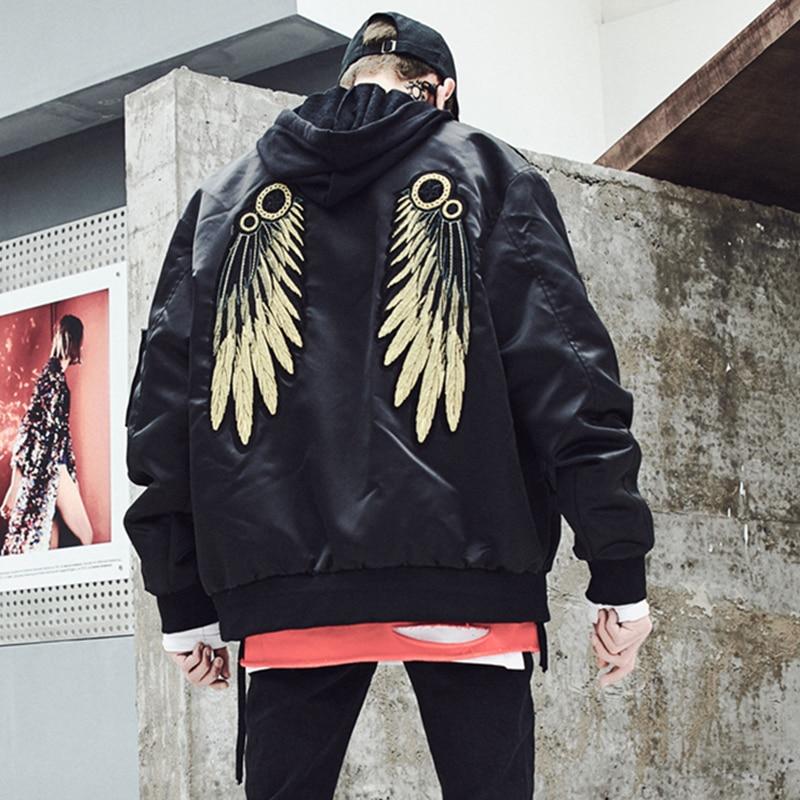 Gold Wing Hip Hop Bomber Jackets Men Streetwear Jacket Punk Rave Rock Big Mens Jackets Mont Manteau Steampunk Mens Clothing 5J23