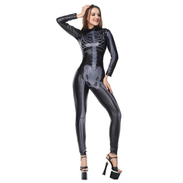 black pvc vinyl long sleeve cosplay skull skeleton catsuit