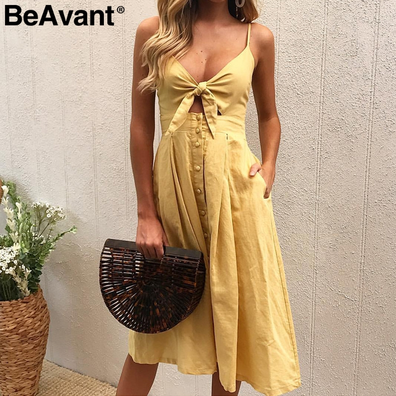 BeAvant Casual hollow out strap sexy dress women Off shoulder v neck summer dress 2018 Button bow white dress vestido de festa