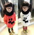 Retail 2014 new winter children's sweaters,girls plus velvet thicken sweater,kids Snowflake and Deer Pattern casual Pullover
