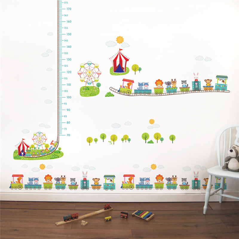Cartoon Amusement Park Animals Train Growth Chart Wall Decals Kids Rooms  Home Decor Height Measure Wall Stickers Pvc Mural Art In Wall Stickers From  Home ...