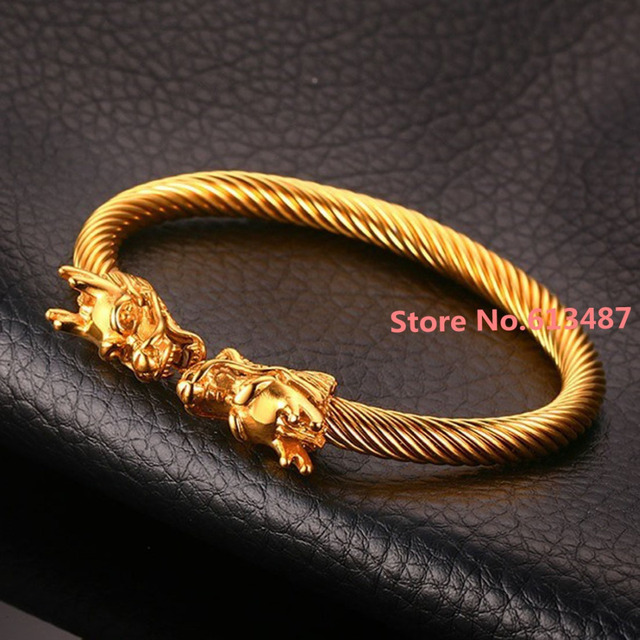 Cool 316L Stainless Steel Fashion Yellow Gold Plated Dragon Wire Cuff Bangle Jewelry Mens Favorite Gift 60mm Inner