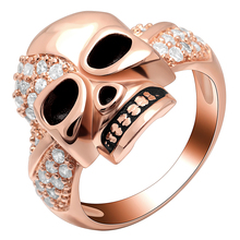купить Seanlov New Fashion Rose Gold Color Style Skull Rings For Women Crystal CZ Engagement Jewelry Party Cool Punk Gifts Ring по цене 308.72 рублей