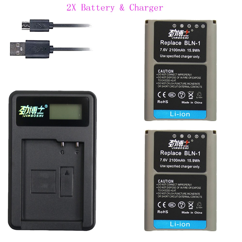 OM-D E-M1 Cargador de bater/ía para Olympus BLN1 y Pen F PowerTrust BLN-1 Pen E-P5 OM-D E-M5 Mark II OM-D E-M5