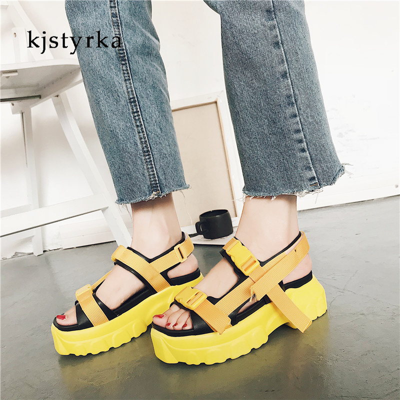 Kjstyrka 2018 Women Fashion sandalia feminina Summer Sandals Platform Light Increase Shoes zapatillas chinelo sandalia