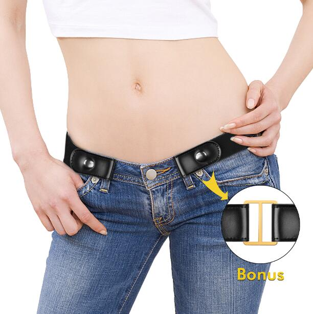 Buckle Free Women Stretch   Belt   Plus Size No Buckle/Show Invisible Genuine Leather   Belt   for Jeans Pants Dresses