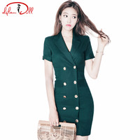 OL Suit Collar Double Breasted Dark Green Mini Sexy Dress Women Short Sleeve Slim Irregular Office