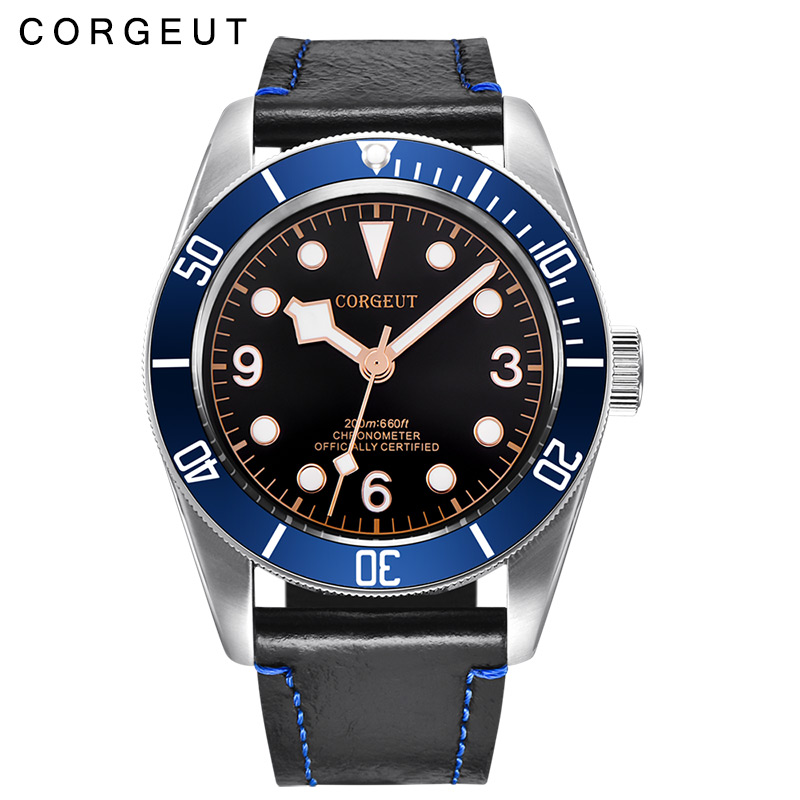 Corgeut 41mm sapphire glass Rosegold luminous Marks Black Dial Blue Bezel leather miyota Automatic mens water resistant Watches polisehd 41mm corgeut black dial sapphire glass miyota automatic mens watch c102