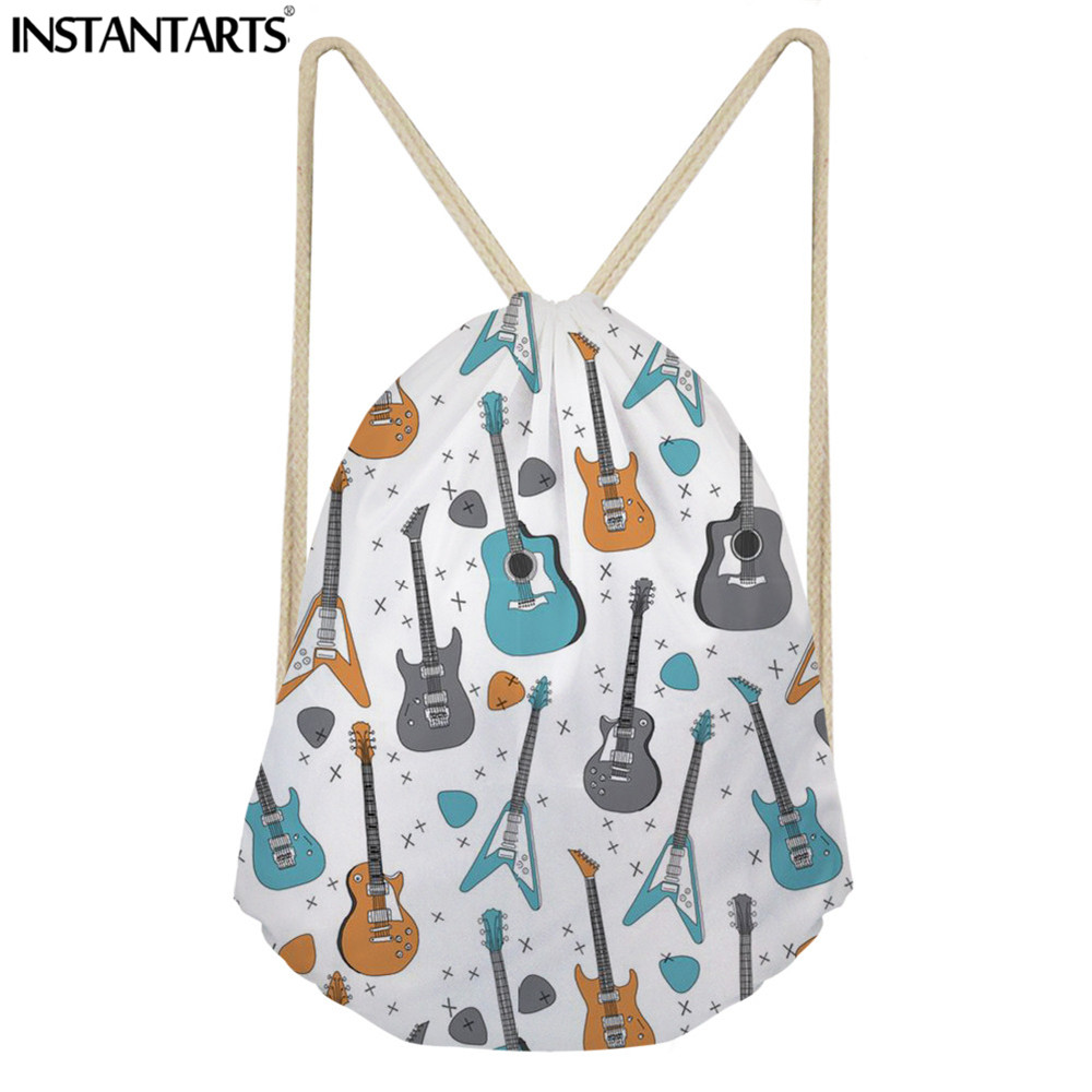 INSTANTARTS Gym Sack For Male Man's Casual Drawstring Bag 3D Music Notes Guitar Print Travel Softback Backpack Teenager Bookbags