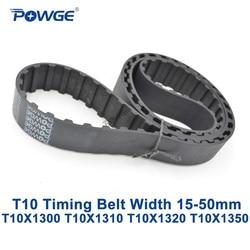 POWGE T10 синхронный ремень синхронизации C = 1300/1310/1320/1350 ширина 15/20/25/30/40/50 мм Резина T10X1300 T10X1310 T10X1320 T10X1350