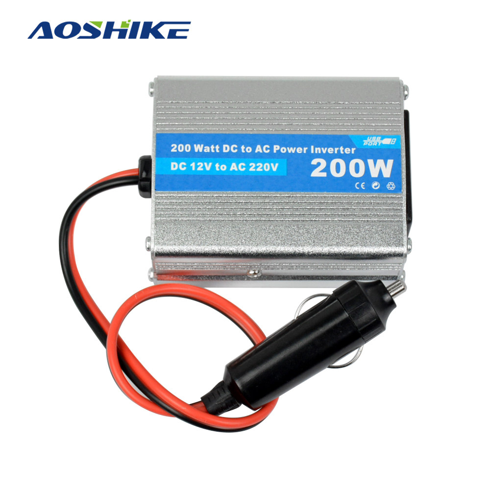 Aoshike 200W DC12V to AC220V Car Inverter Modefied Sine Wave Small Automobile Frequency Converter with USB and CE Certification aoshike usb 1500w watt dc 12v to ac 220v