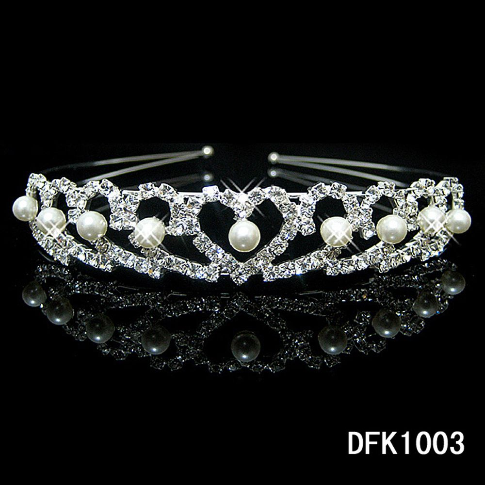 купить New Shiny Crystal Rhinestone Pearl Headband Wedding Bridal Silver Hairwear Party Girls Tiara Flower Hair bands Hair Accessories в интернет-магазине