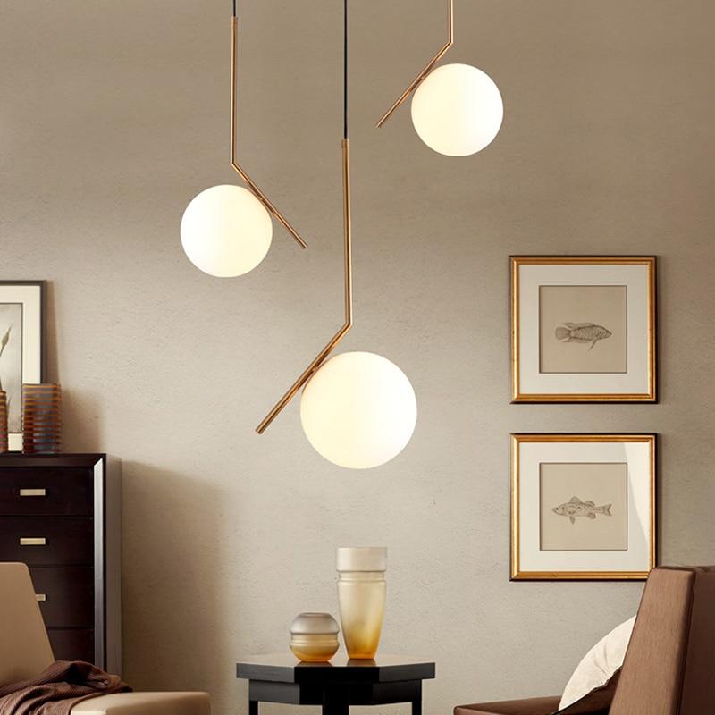 1 шт. скандинавский стиль подвесные светильники молочно-белый стеклянный оттенок современные минимасветодио дный листичные светодиодные п...