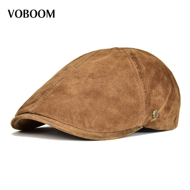 VOBOOM Suede Leather Flat Cap Men Newsboy Caps Frosted Pigskin 6 Panel  Gatsby Baker Ivy Hat Fall Winter Boina 159 ee9a4a90483