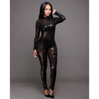 New Autumn Black Apricot Sequined Jumpsuit Mesh See Through Bodysuit Fashion Long Sleeve Sexy Nightclub Jumpsuits Rompers