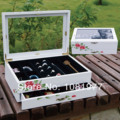 wood jewelry box with drawer and mirror display vintage jewelry storage box wedding gift