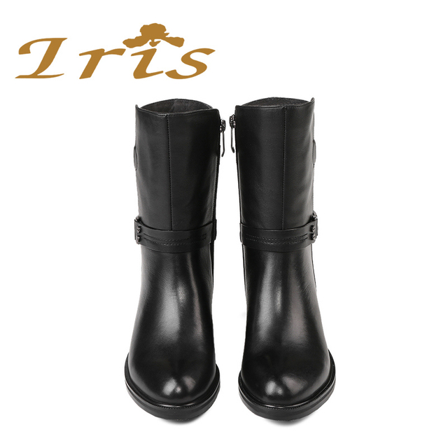 IRIS Mid Calf Boots Women Black Genuine Leather Round Toe Flat Heels Motocyle Boots Hademade High Quality Short Boots 2017 New 4