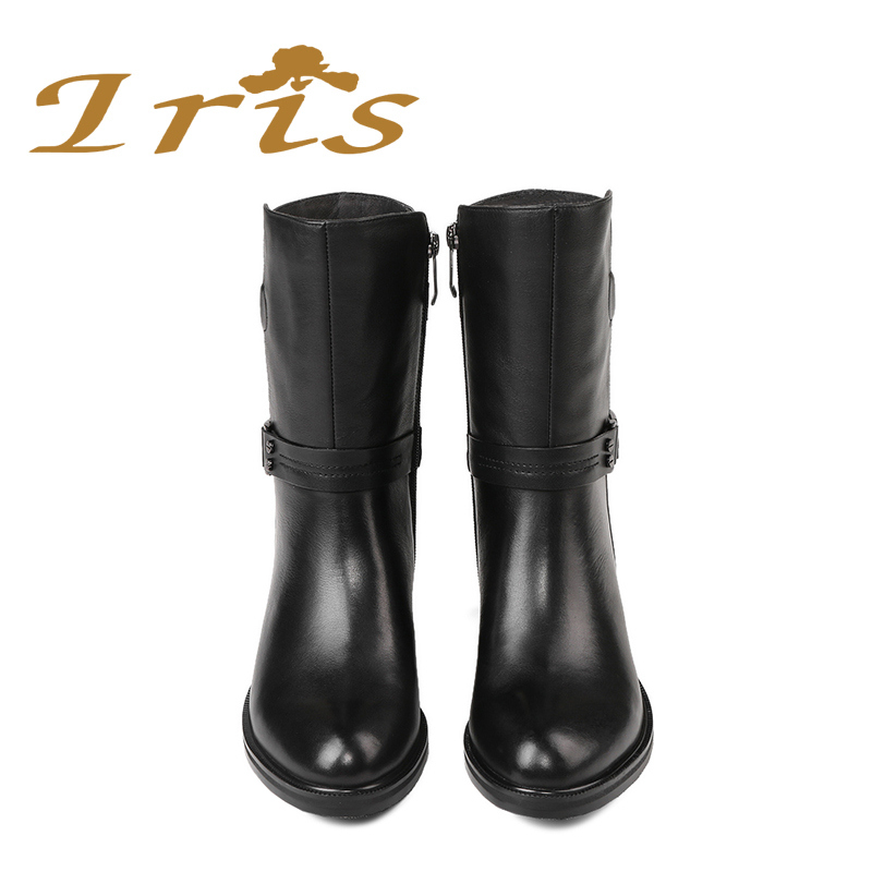 IRIS Mid Calf Boots Women Black Genuine Leather Round Toe Flat Heels  Motocyle Boots Hademade High Quality Short Boots 2017 New -in Mid-Calf Boots  from Shoes ... d8e163cfbd