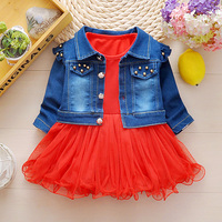 Newest 2017 Spring Autumn Baby Girls Clothes Sets Denim Jacket TUTU Dress 2 Pcs Kids Suits