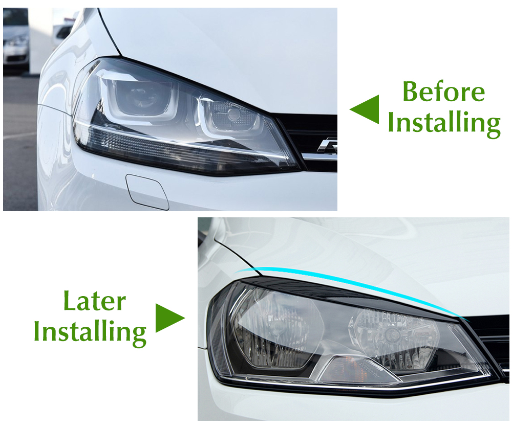 Image 5 - Headlights Eyebrow Eyelids Trim Stickers Cover for Volkswagen VW Golf 7 MK7 GTI R Rline Accessories Car Styling-in Car Stickers from Automobiles & Motorcycles