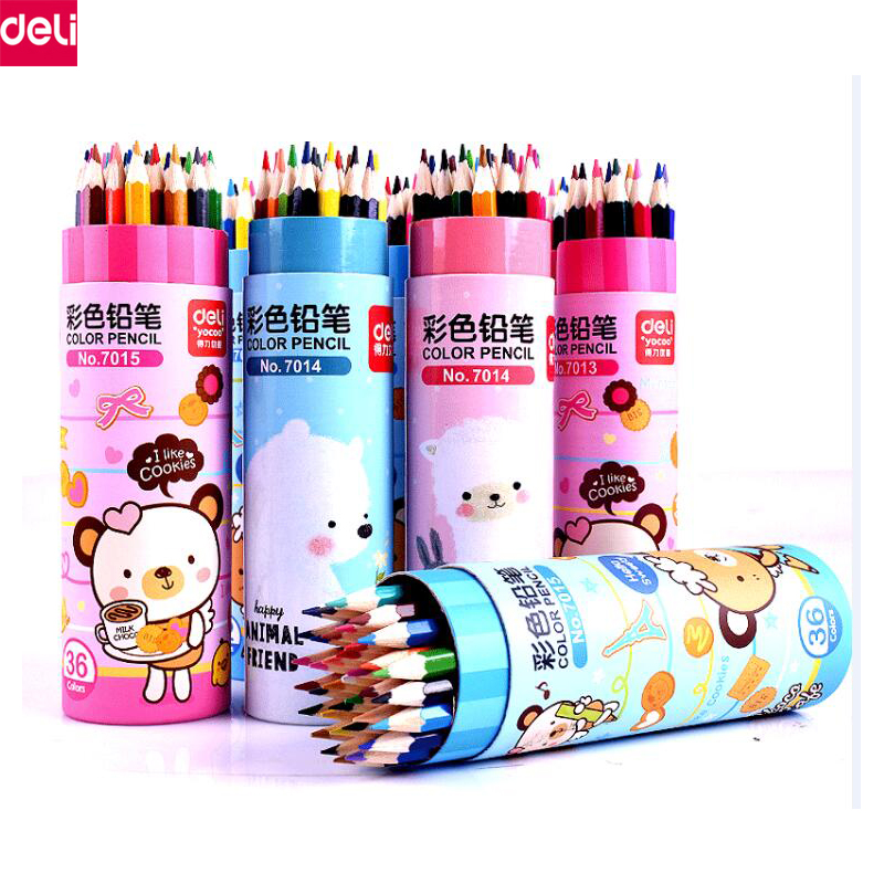 Deli Premium Soft Core Watercolor Colored Pencils 12 18 24 lapis de cor Professional Water Soluble color Pencil for Art School 24 36 colors watercolor pencils lapis de cor professional lapis escolar school paint water soluble color hydrotropic carton
