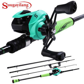 Sougayilang 2.1M 2.4M Fishing Rod and 12+1BB Casting Reel Combo Saltwater Carp Wheel Carbon Pole Sets Fishing Tackle - DISCOUNT ITEM  55% OFF Sports & Entertainment