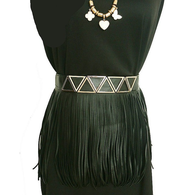 Metal triangle geometric decoration short tassel belts fashion black faux leather belts women skirt fringed accessory girdle
