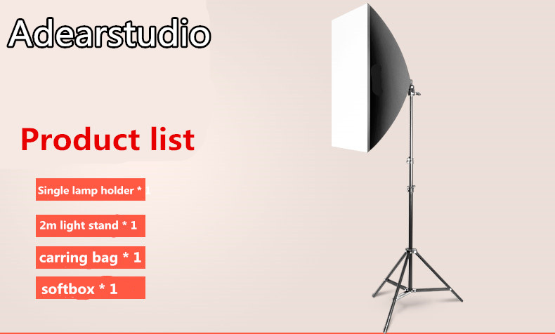 Matériel photographique 50x70 cm Softbox Soft Box E27 Lampe Portraitiste photographie set lampe unique softbox 2 m llight stand cd50