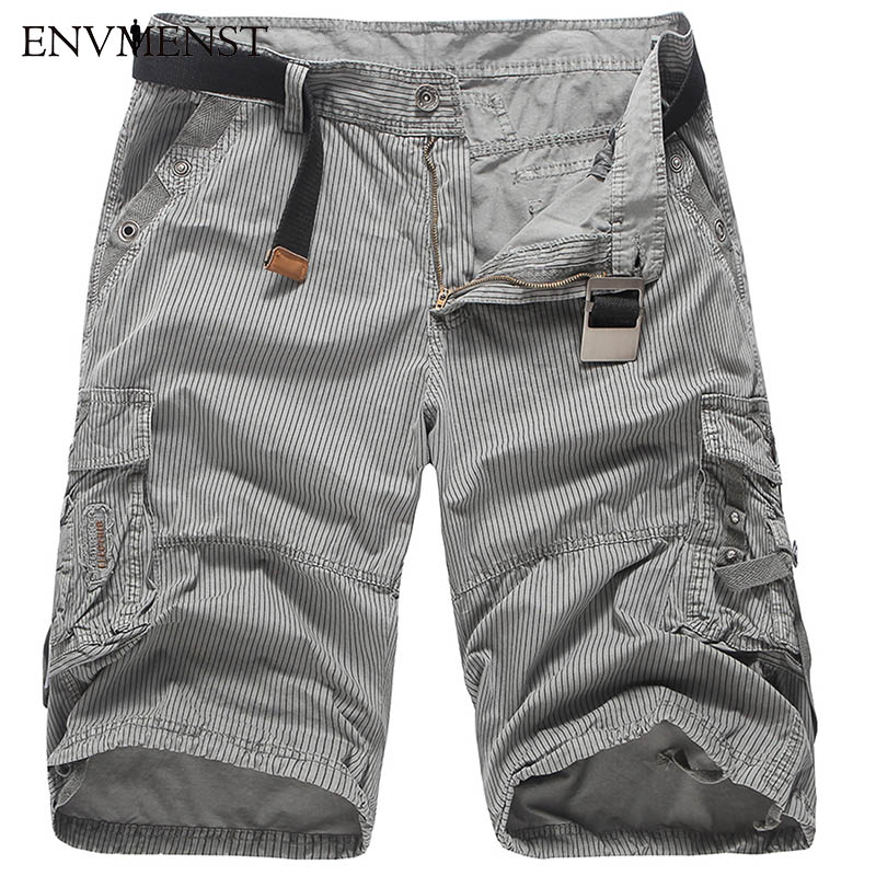 New 2017 Men Cargo Shorts Casual Loose Short Pants Striped Military Summer Style Knee Length Plus Size 4 Colors Shorts Men