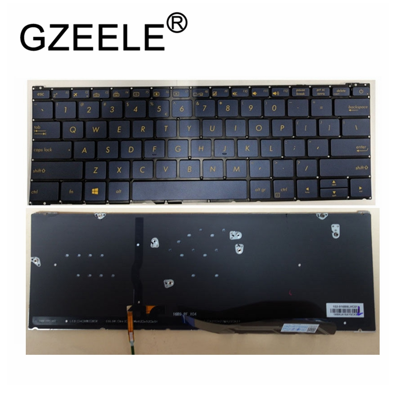 GZEELE New For Blue Keyboard For Asus ZenBook 3 UX390 UX390UA UX390A With Backlit No Frame Blue US English Layout With Backlight