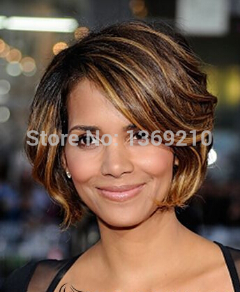 Cute Short Brown Female Halle Berry S Hair Style Wavy Celebrity Hairstyle Mult Color Capless Synthetic Hair Wigs Wig Real Hair Hair Wigs Indiahair And Wigs Aliexpress