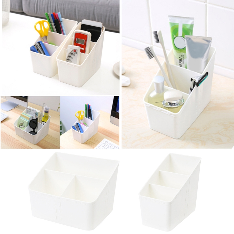 3-grid plastic box creative desktop makeup organize storage box cosmetic case remote control holder small objects Container