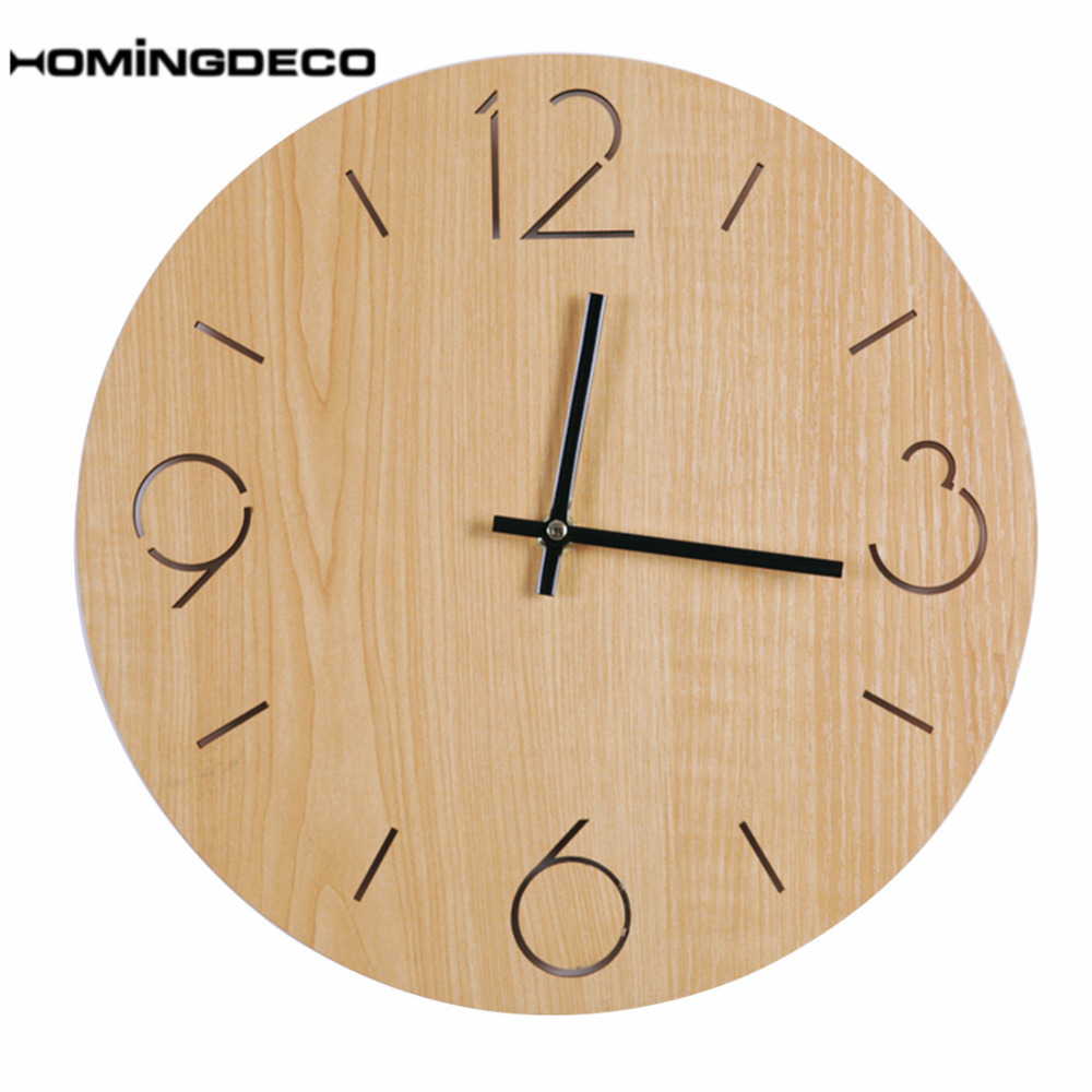 Homingdeco 12inch Wall Clock Brief Country Style Bedroom Living Room ...