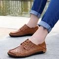 Męskie skórzane buty na co dzień 2019 jesień modne buty dla mężczyzn buty designerskie na co dzień oddychające duży rozmiar męskie buty komfort mokasyny w Męskie nieformalne buty od Buty na