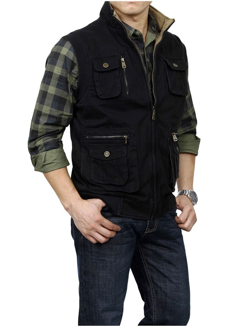 M~3XL 2015 Autumn Spring Reversible Casual Men Vest Coat AFS JEEP Cotton Pocket Cargo Outdoor Sleeveless Jackets Waistcoat Vests (7)