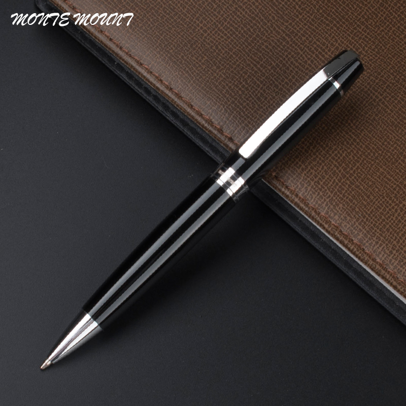 MONTE MOUNT GOOD Quality New Silver Clip 802 Black  Roller Ball Pen Luxury School Office Supplies  Blance Brand Writing Pen Gift