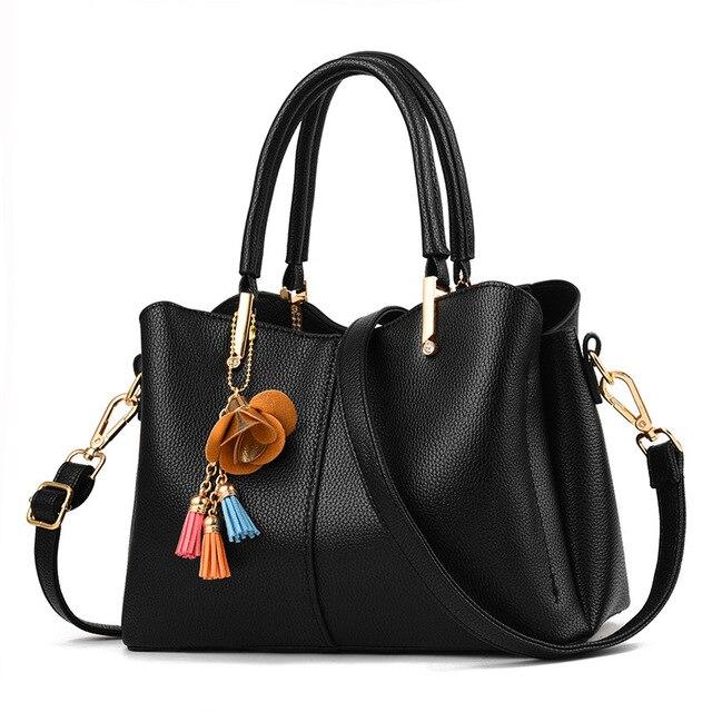 593806d7d9 Women s New Fashion Tassel Pendant Solid Color Ladies Handbag Elegant Trend  All-match Retro PU Messenger Bag Shoulder Bag Wallet