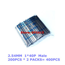 400pcs 1*40P Single Row Male 1X40 Pin Header Strip 2.54 mm Copper connector Free Shipping