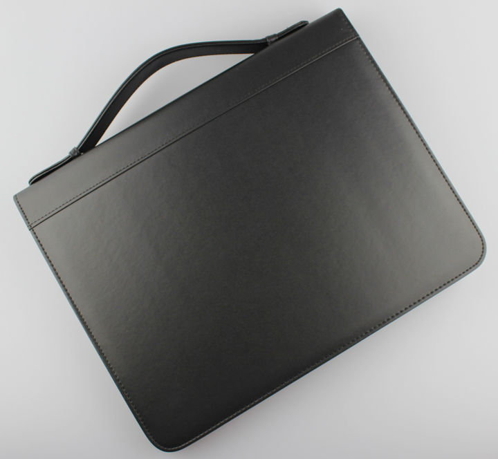 A4 zipper business PU leather file folder manager bag briefcase document organizer portfolio ring binder with handle 487A