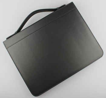 A4 zipper business PU leather file folder manager bag briefcase document organizer portfolio ring binder with handle 487A - DISCOUNT ITEM  0% OFF All Category