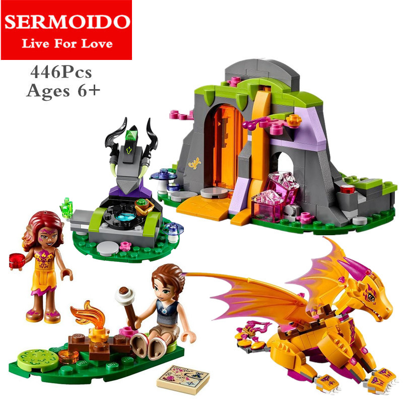 SERMOIDO 10503 Elves Azari The Magical Bakery Fire dragon Building Blocks Girls Princess Fairy compatiable with Lepine B308